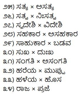 1st PUC Kannada Workbook Answers Viruddha Padagalu 2