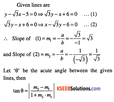 1st PUC Maths Question Bank Chapter 10 Straight Lines 86