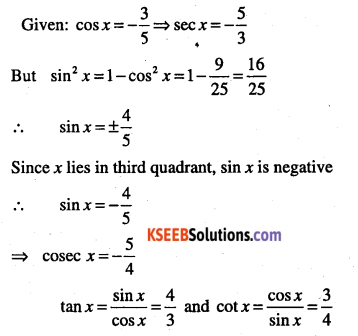 1st PUC Maths Question Bank Chapter 3 Trigonometric Functions 22