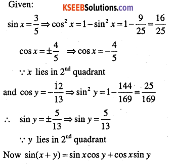 1st PUC Maths Question Bank Chapter 3 Trigonometric Functions 73