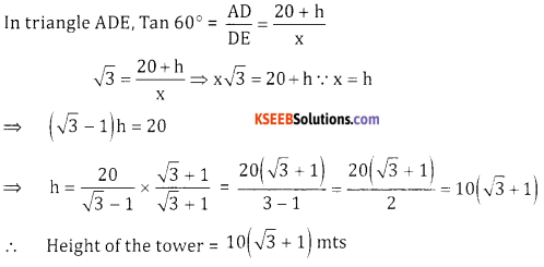 2nd PUC Basic Maths Question Bank Chapter 13 Heights And Distances Ex 13.1 - 10