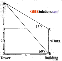 2nd PUC Basic Maths Question Bank Chapter 13 Heights And Distances Ex 13.1 - 9