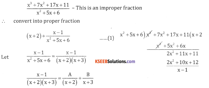 2nd PUC Basic Maths Question Bank Chapter 5 Partial Fractions Ex 5.2 - 27